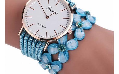 Dámské hodinky náramkové - květiny - světle modrá barva - dodání do 2 dnů