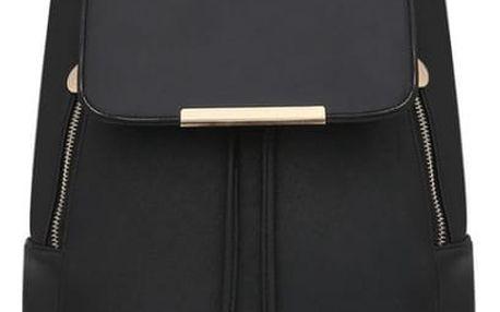 Koženkový batoh s detaily ve zlaté barvě - černá - dodání do 2 dnů