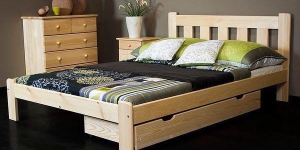 Dřevěná postel Brita 160x200 + rošt ZDARMA borovice