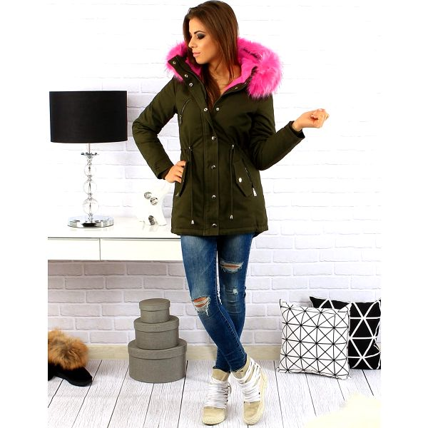 Khaki dámská zimní bunda parka (ty0144) Barva: Khaki, Velikost: M