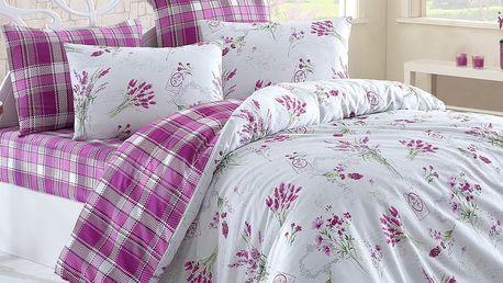 Krepové povlečení Lavente růžová, 140 x 200 cm, 70 x 90 cm