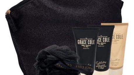 Grace Cole White Nectarine & Pear dárková kazeta pro ženy sprchový gel Refreshing 100 ml + tělový krém Smoothing 100 ml + tělový peeling Exfoliating 100 ml + mycí houba + kosmetická taška