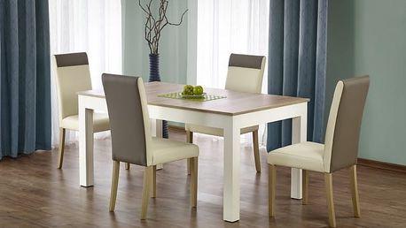Seweryn - Jídelní stůl 160-300x90 cm (dub sonoma, bílá)
