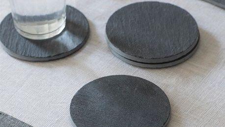Garden Trading Kulaté břidlicové podtácky - set 4 ks, šedá barva, kámen