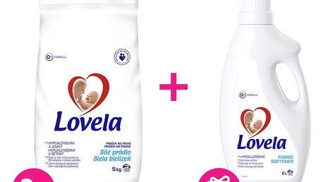 2x LOVELA Bílá prací prášek 5 kg (40 dávek) + Lovela aviváž 2 L