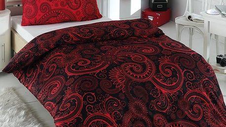 Night in Colours Bavlněné povlečení Sal červená/černá, 220 x 200 cm, 2 ks 70 x 90 cm