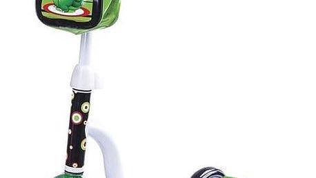 Koloběžka Spokey DINNO černá/bílá/zelená + Reflexní sada 2 SportTeam (pásek, přívěsek, samolepky) - zelené v hodnotě 58 Kč + Doprava zdarma