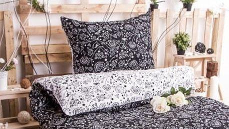 XPOSE ® Prodloužené bavlněné povlečení SELENA DUO EXCLUSIVE - černá 140x220, 70x90