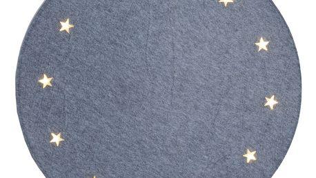 STAR TRADING Svítící koberec pod stromeček Stars Grey, šedá barva, textil