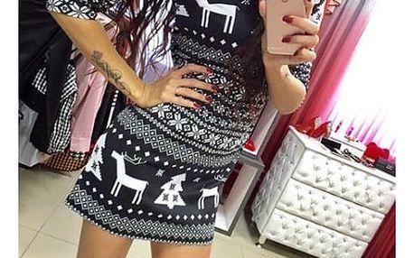 Mini šaty se zimním vzorem