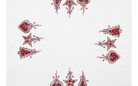 BO-MA Trading Vánoční ubrus Perníčky bílá, 85 x 85 cm