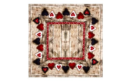 BO-MA Trading Ubrus Christmas Heart, 85 x 85 cm