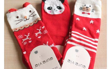 Dámské vánoční ponožky se zvířátky
