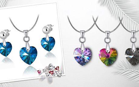 Romantický ocelový set s krystaly Swarovski