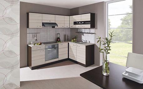Nina - Kuchyně, 220x160 (jasan coimbra, dub tmavý, traini beige)