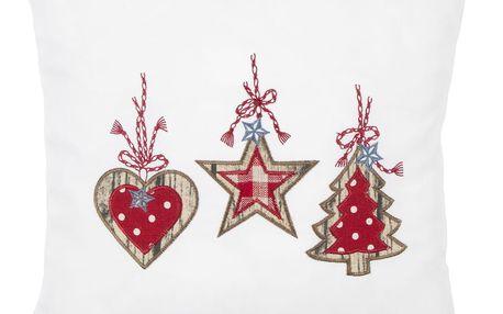 BO-MA Trading Vánoční Povlak na polštářek Perníčky bílá, 40 x 40 cm