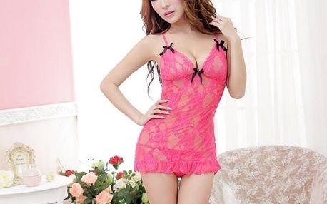 Vyjímečná noční košilka Pink Sky v zůžové barvě + růžová tanga