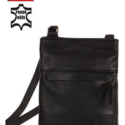 Kožená crossbody kabelka - Česká výroba černá