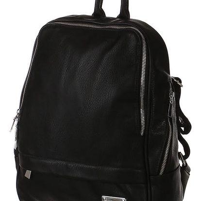 Klasický hladký batoh se zipy černá
