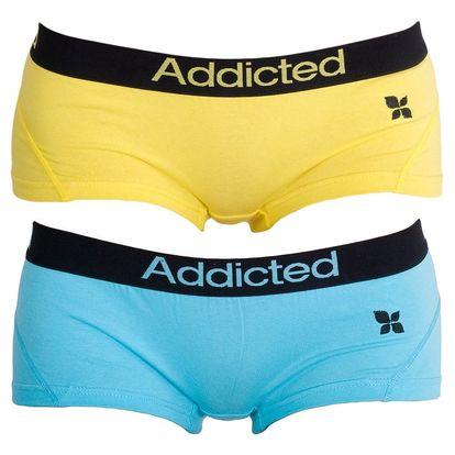 2PACK Dámské Kalhotky Addicted Modrá Žlutá S