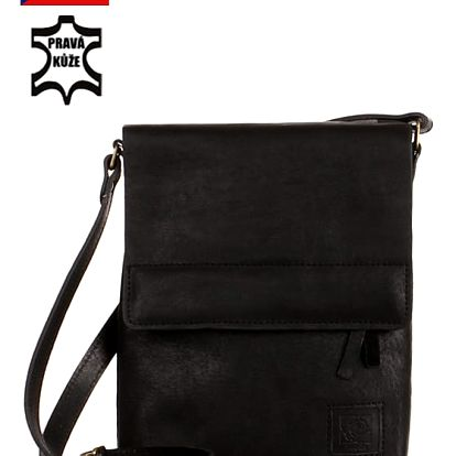 Malá kožená kabelka přes rameno - Česká výroba černá