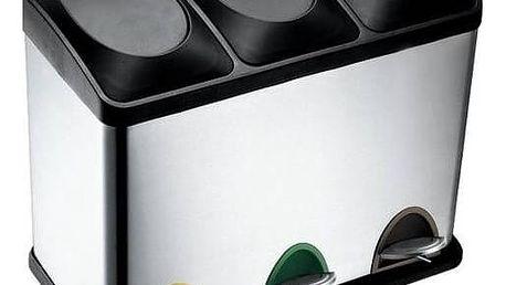 Odpadkový koš TORO 3 x 15 l černý/nerez + Doprava zdarma