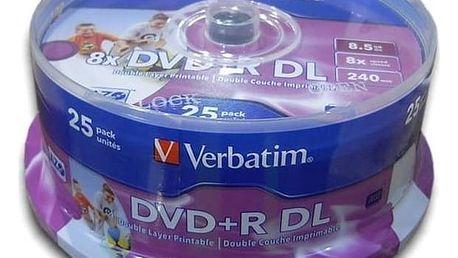 Disk Verbatim DVD+R DualLayer, 8,5GB, 8x, printable, 25-cake (43667) + Doprava zdarma