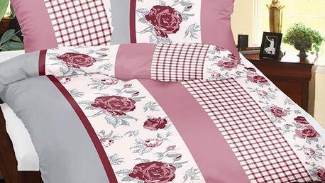 Bellatex Povlečení bavlna Růže s kostičkou , 140 x 200 cm, 70 x 90 cm