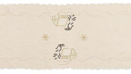 Forbyt Vánoční ubrus chaloupky béžová, 35 x 160 cm, 35 x 160 cm