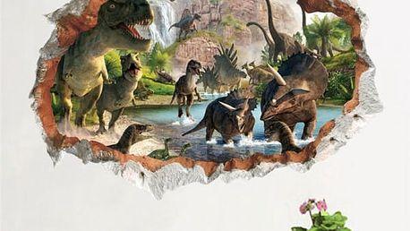 3D samolepka na zeď - Napajedlo s dinosaury