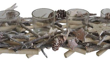 StarDeco Dekorativní svícen Dřívka hnědá, 36 cm