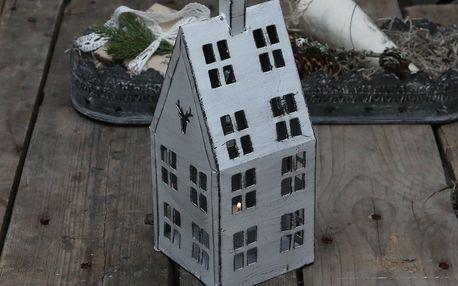 Chic Antique Plechová lucerna House White, bílá barva, kov