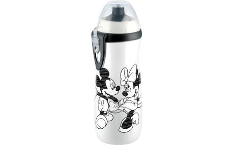 NUK First Choice Láhev PP Sports Cup, Disney Mickey 450 ml, silikon push-pull pítko (36+ m)– bílá
