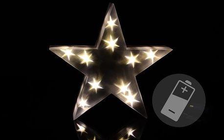 Vánoční hvězda s 3D efektem - 30 cm 10 LED teplá bílá