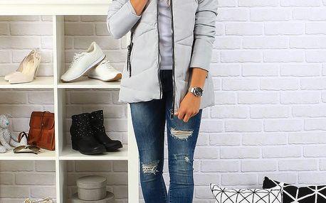 Dámská šedá prošívaná bunda s kapucí (ty0109) Barva: šedá, Velikost: M