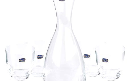 Bohemia Crystal Sada 4 sklenic s karafou Water, 1200 ml