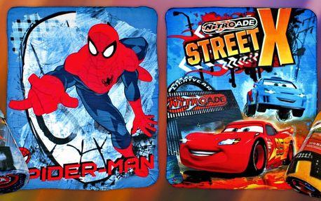 Dětská fleecová deka - Spiderman nebo Cars