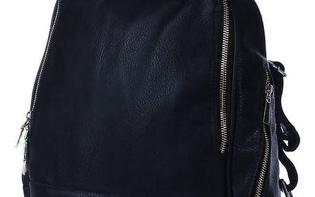 Klasický hladký batoh se zipy tmavě modrá