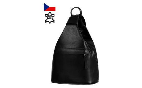 Batoh/kabelka 3v1 z pravé kůže - malý - Česká výroba černá