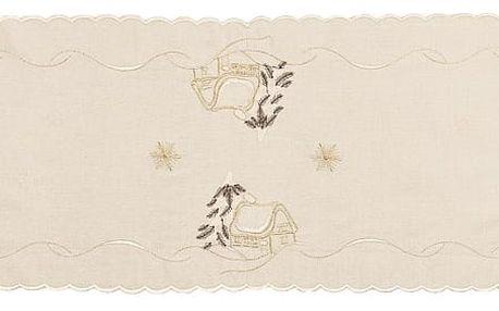 Forbyt Vánoční ubrus chaloupky béžová, 35 x 160 cm