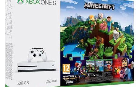 Herní konzole Microsoft Xbox One S 500 GB + Minecraf, Minecraft Story Mode, 3 měsíční Zlaté členství Xbox Live (ZQ9-00297) + Doprava zdarma