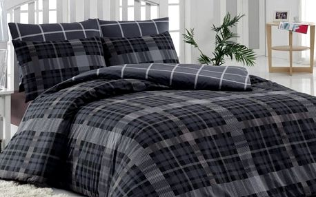 Tiptrade Bavlna povlečení Checker šedý, 220 x 200 cm, 2 ks 70 x 90 cm