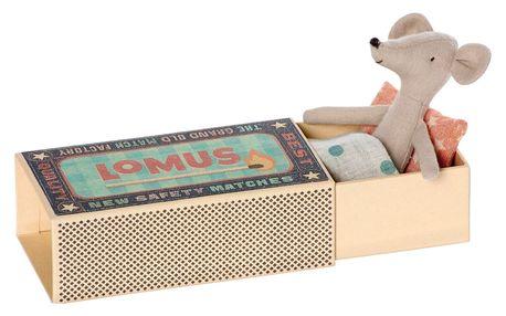 Maileg Myšák v krabičce Cousin, béžová barva, multi barva, papír, textil
