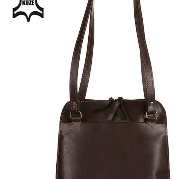 Batoh/kabelka 2v1 z pravé kůže - Česká výroba tmavě hnědá