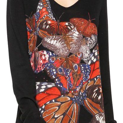 Desigual černý svetr Mery s motýly