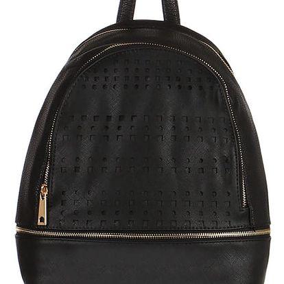 Koženkový batoh s perforováním černá