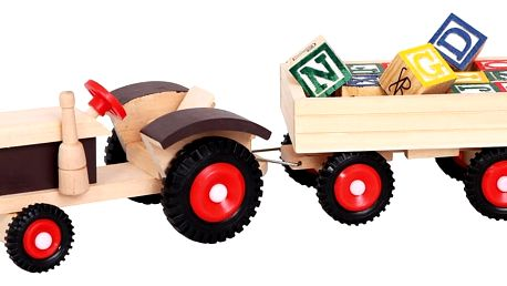 Bino Traktor s gumovými koly a vlečkou