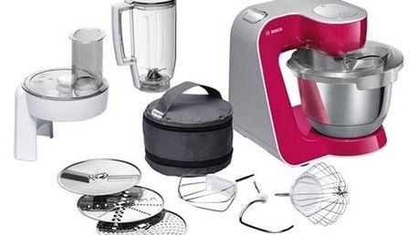 Kuchyňský robot Bosch CreationLine MUM58420 stříbrný/červený + Doprava zdarma