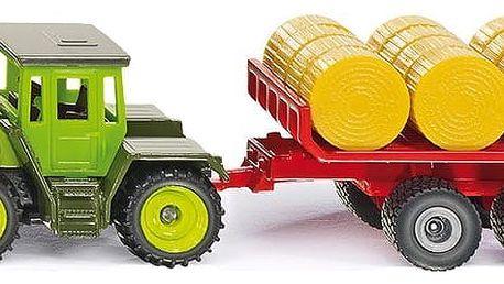 SIKU Super 1670 - MB traktor s vlekem a balíky slámy