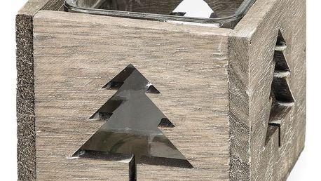 Svícen šedý se stromečkem, 9,5 x 9,5 cm, v. 8 cm, dřevo